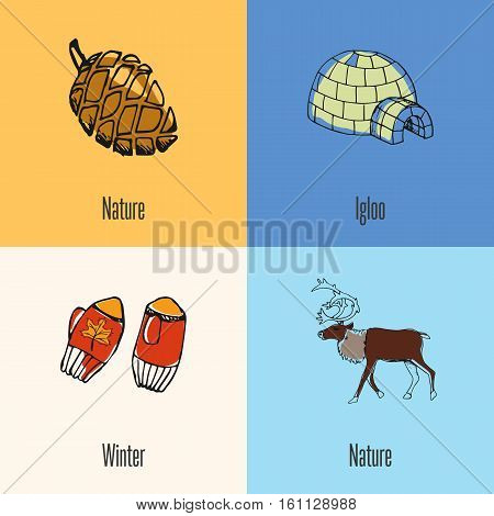 Canadian national symbols. Winter mittens, horned reindeer male, ice igloo, pine cone colored hand drawn doodle vector icons collection with caption.