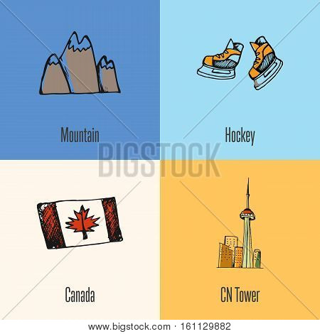 Canadian national symbols. Mountains snow peaks, ice hockey skates, flag, Toronto CN tower hand drawn doodle vector icons collection with caption. Country concept for travel company ad