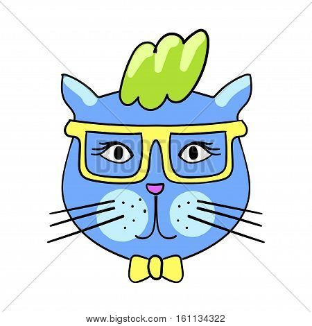 Cute fashion cat with sunglasses. Trendy quirky cartoon doodle patch badge. Sticker in comic style 80s 90s. Eps 10