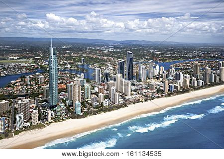Aerial image of the Gold Coast city located in Queensland Australia surfers paradise