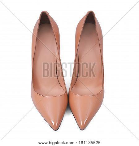 stylish female beige shoes over white background