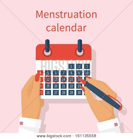 Woman Notes In The Calendar Menstrual Cycle