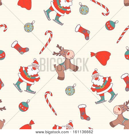Christmas Seamless Pattern. Winter Holidays Illustrations. Xmas Hand Drawn Collection. Santa Claus and Deer Vector Design