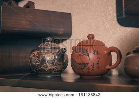 Closeup set of China tea on bamboo mat. tea ceremony