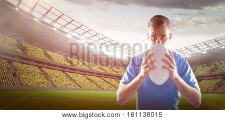 3D Rugby player throwing a rugby ball against rugby stadium