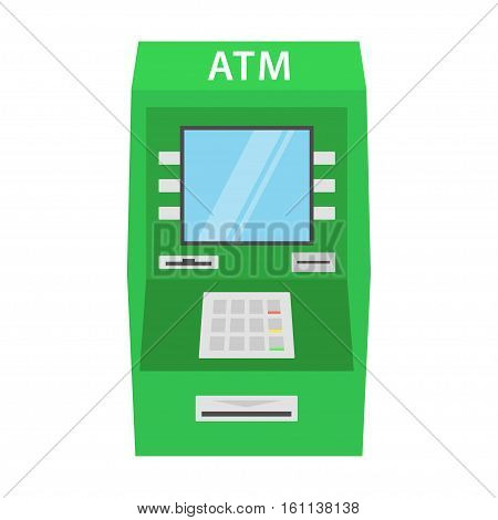 ATM machine vector illustration in flat style. Icon green cash machine isolated from the background.