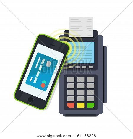 POS terminal confirms the payment made through mobile phone. Concept icons NFC payments in a flat style. Pay or making a purchase contactless or wireless manner. Mobile Banking and Payments.