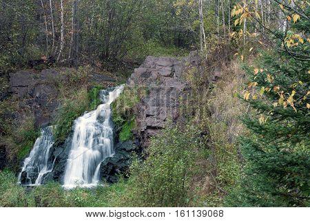Warner Falls on Warner Creek in Autumn, Palmer, Marquette County, Michigan, USA