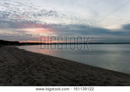 Pink Sunset on Lake Superior near Munising, Alger County, Michigan, USA