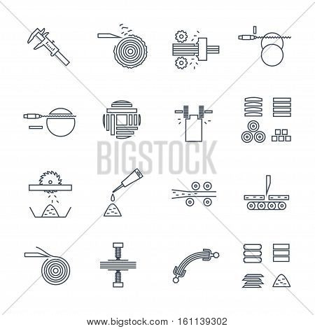 set of thin line icons manufacture of wood production process sawmilling of wood