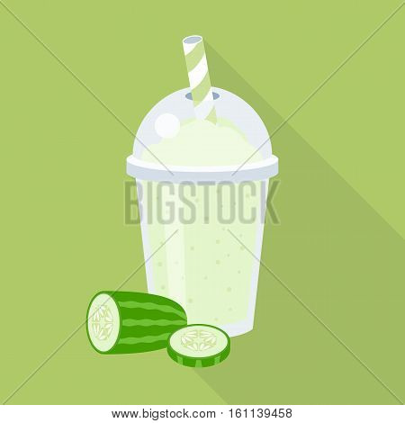 Cucumber juice or smoothie in plastic glass with slice cucumber, flat design vector