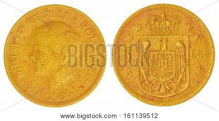 5 Lei 1930 Coin Isolated On White Background, Romania