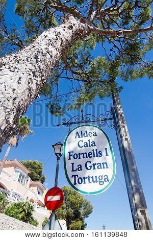 CALA FORNELLS MALLORCA SPAIN - SEPTEMBER 6 2016: La Gran Tortuga restaurant outdoor sign on a sunny day on September 6 2016 in Cala Fornells Mallorca Spain.