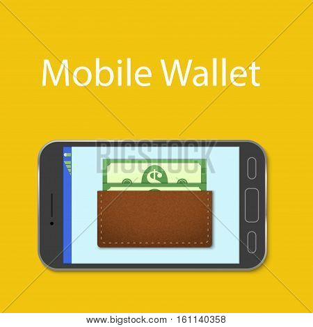Mobile wallet concept. Leather wallet with money on the mobile phone screen