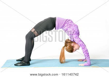 Portrait Of Beautiful Young Woman Wearing Sportswear Working Out In Studio. Fit Sporty Girl Doing Ba