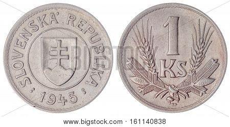 1 Koruna 1945 Coin Isolated On White Background, Slovakia