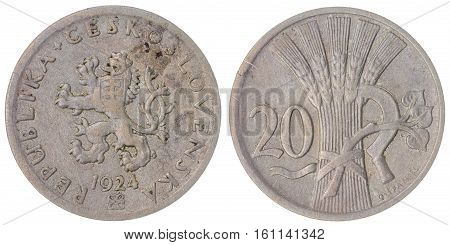 20 Haleru 1924 Coin Isolated On White Background, Czechoslovakia