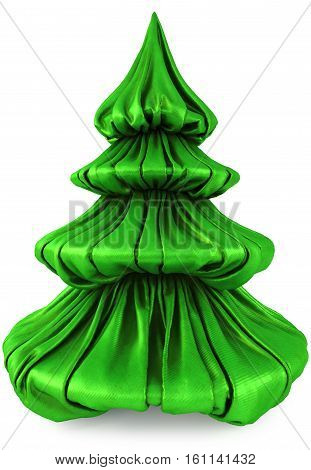 Christmas tree from green fabric. Isolated on white. 3D illustration.