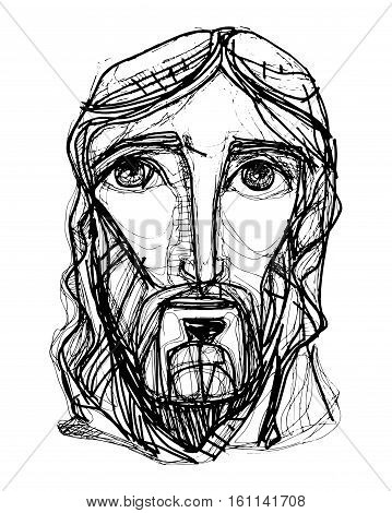 Hand drawn vector illustration or drawing of Jesus Christ face in an expressionist style