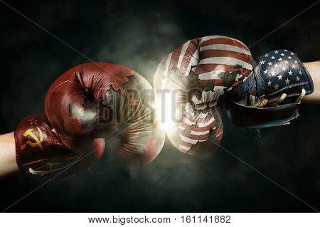 Cold War between Russia and USA symbolized with Boxing Gloves