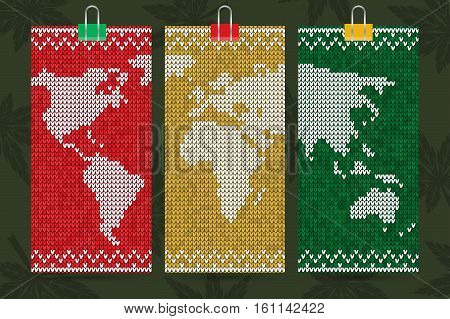 Rastafari World map, business cards set, knitting style, vector handmade illustration