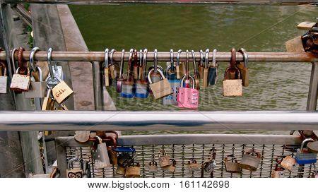 Bristol UK - July 16 2016: Lovelocks on Pero's Bridge in Bristol harbour England UK