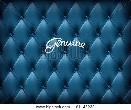 Genuine deep blue buttoned leather seamless pattern. Vector background