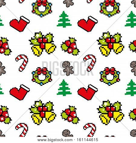 Background With Christmas Symbols Pixel Art Winter Pattern White Color