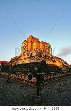 Wat Chedi Luang a Buddhist temple in the historic Chiang Mai Thailand