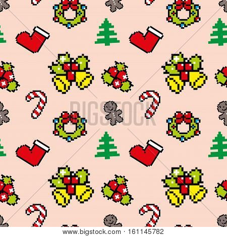 Background With Christmas Symbols Pixel Art Winter Pattern Pink Color