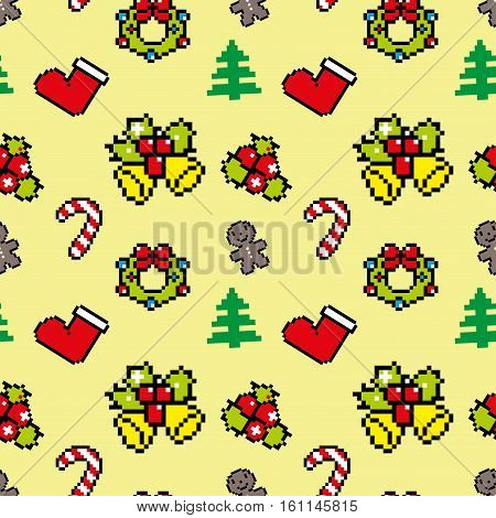 Background With Christmas Symbols Pixel Art Winter Pattern Yellow Color