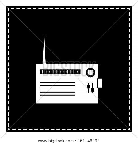 Radio Sign Illustration. Black Patch On White Background. Isolat