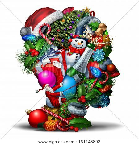 Winter holiday head symbol as a group of christmas and new year celebration seasonal objects shaped as a human face profile as an icon for festive planning or stress and confusion during the holidays as a 3D illustration.