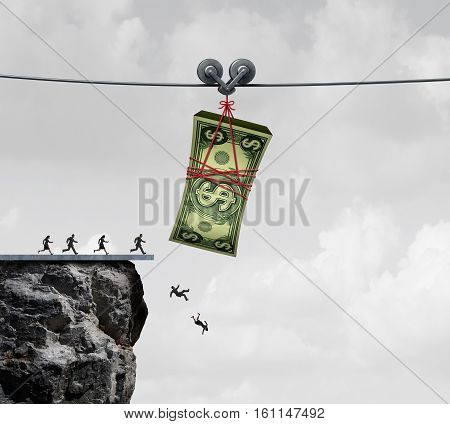 Money trap and business people or consumers taking the bait concept as financial victims of fraud as a metaphor for greed and economic risk with 3D illustration elements.