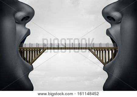 Concept of building bridges as two people with opem mouth as a bridge connecte the two as a symbol for negotiaton or business agreement with 3D illustration elements.