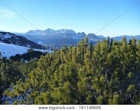 early winter trekking in beautiful salzkammergut in austria poster