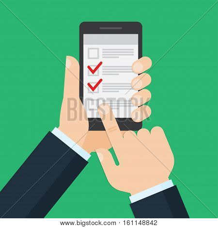 list on smartphone screen. Checkboxes and check mark. Hand holds smartphone. Vector illustration.