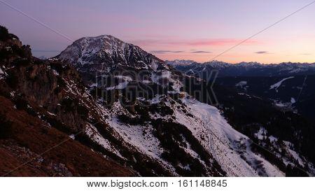 Romantic Sunset At Salzkammergut Mountains