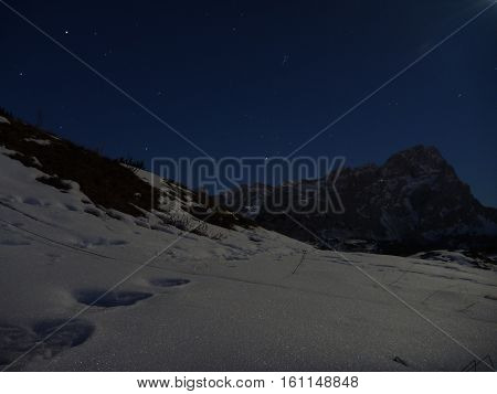 Night Scene With Moonshine In The Alps