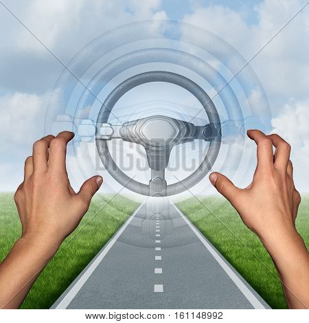 Autonomous driving concept and driverless automobile symbol as a driver on a road with hands off the steering wheel as a future intelligent transport technology with 3D illustration elements.