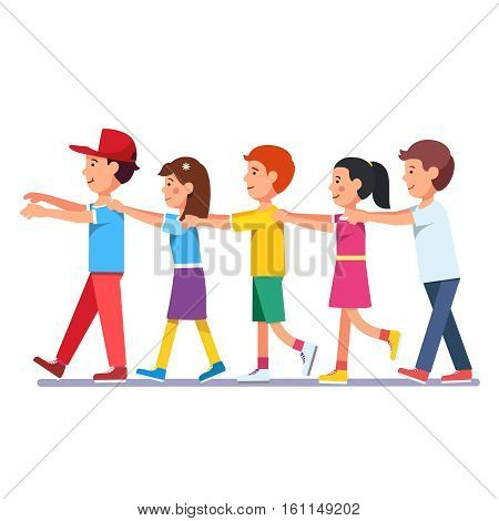 Kids walking in a row line holding forward guy by shoulders with hands and facing his back. Playing millipede game. Colorful flat style cartoon vector illustration.