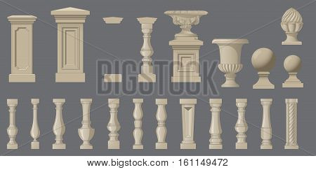 Set of random style balusters and park elements with stands