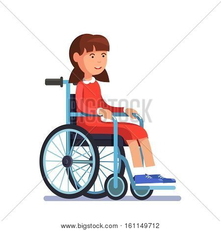 Cute disabled girl kid sitting in a wheelchair. Handicapped person. Colorful flat style cartoon vector illustration.