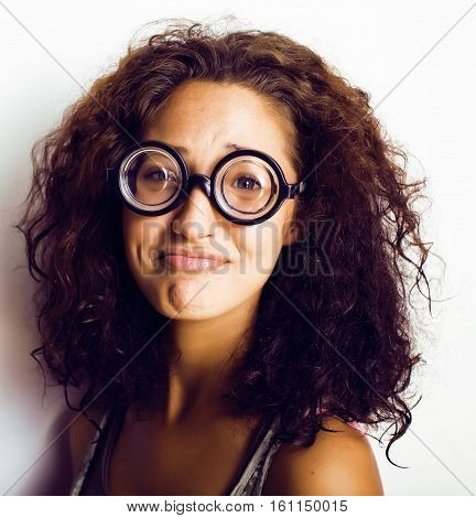 teenage bookworm concept, cute young woman in glasses, lifestyle people concept close up