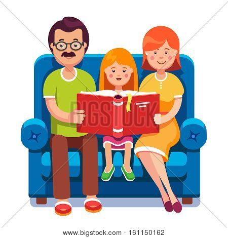 Family. Mom, dad and daughter reading story book together sitting on the couch. Happy parents with their kid. Colorful flat style cartoon vector illustration.