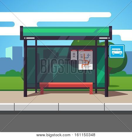 Empty suburban road bus stop with city transportation scheme placard inside and sign. Colorful flat style cartoon vector illustration.