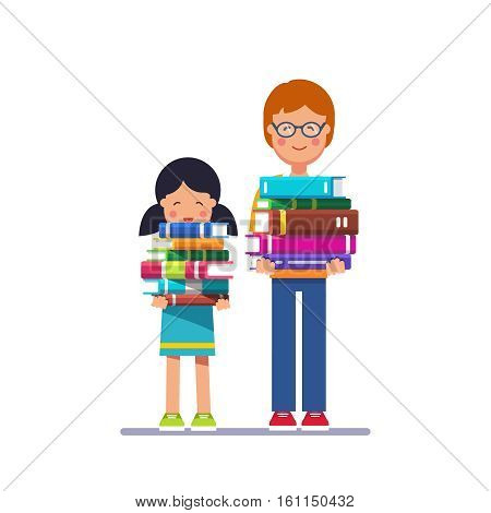 School and preschool kids boy and girl holding big heavy piles of books in hands. Learning needs effort concept. Colorful flat style cartoon vector illustration isolated on white background.