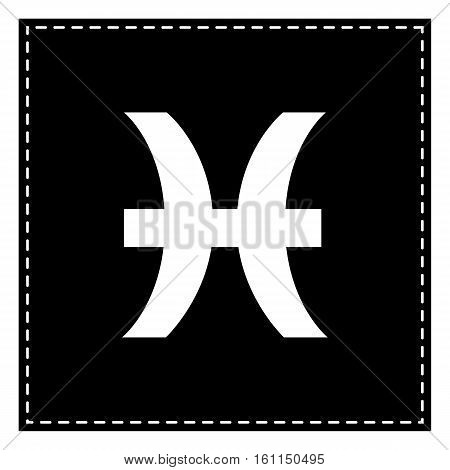 Pisces Sign Illustration. Black Patch On White Background. Isola