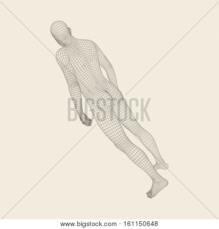 Man Stands on his Feet.3D Model of Man. Geometric Design. 3d Polygonal Covering Skin. Human Body Wire Model. Vector Illustration.