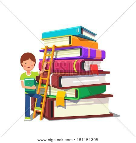 Boy kid climbing up a ladder on a pile of big hard cover books. School education and knowledge growth concept. Colorful flat style cartoon vector illustration isolated on white background.
